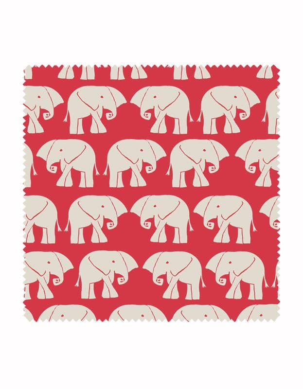 Nellie - Elephant Print Fabric in Red & Stone - Aurina Ltd