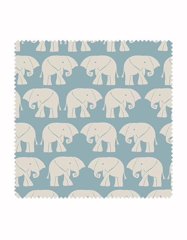 Nellie Elephant Fabric in Sky Blue & Stone
