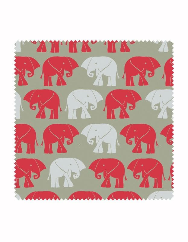 Nellie Elephant Wallpaper in Sage & Red - Aurina Ltd