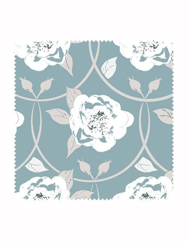 Peony Flower Print Wallpaper in Sky Blue
