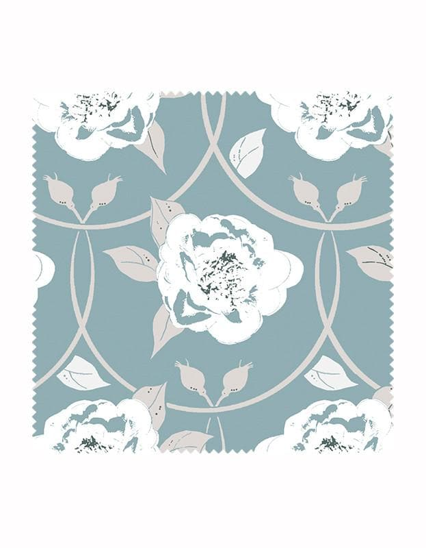 Peony Flower Print Fabric in Sky Blue