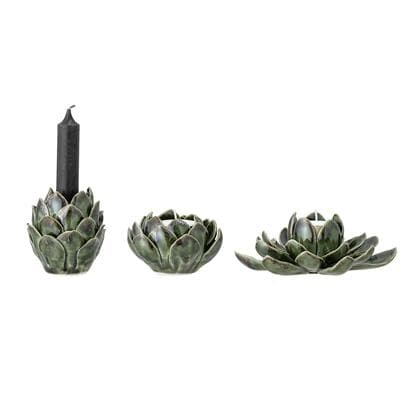 Green Stone Flower Artichoke Votive - Aurina Ltd