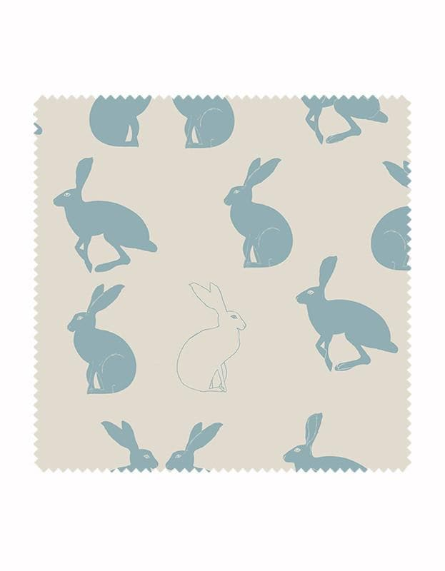 Hetty Hare Wallpaper in Sky Blue - Aurina Ltd