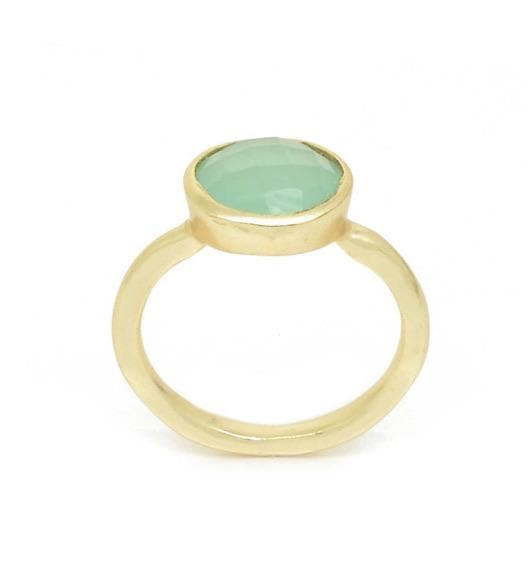 Faceted Gold and Aqua Chalcedonay Ring