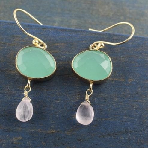Aqua Chalcedonay & Rose Quartz Drop Earring - Aurina Ltd