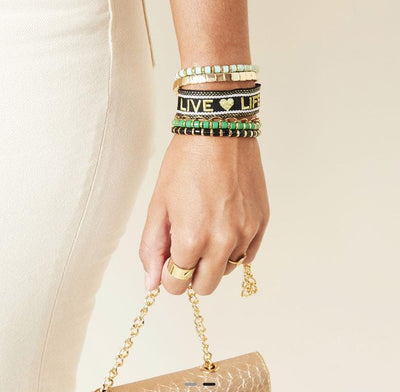 Live Life Woven Bracelet Pink and Gold - Aurina Ltd