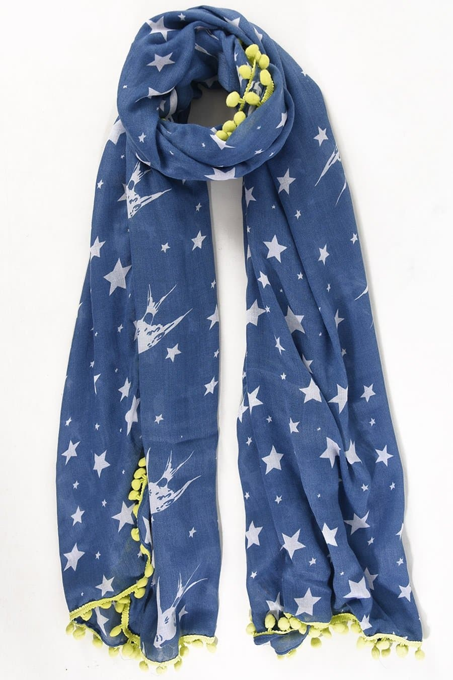 Birds and Stars Neon Pom Pom Scarf -  - aurina-ltd-2