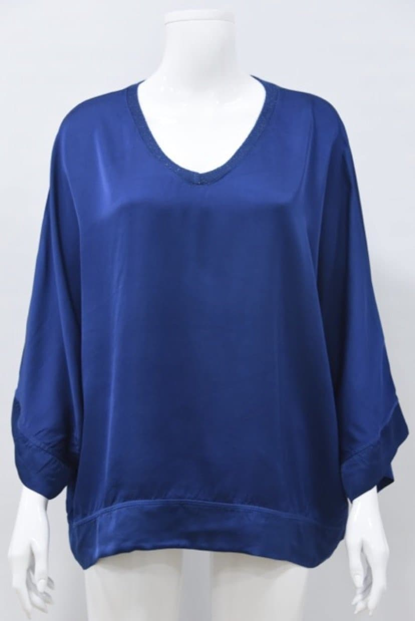 Sparkle Trim V Neck Satin Top