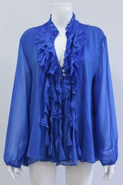 Silk Frill Button Top