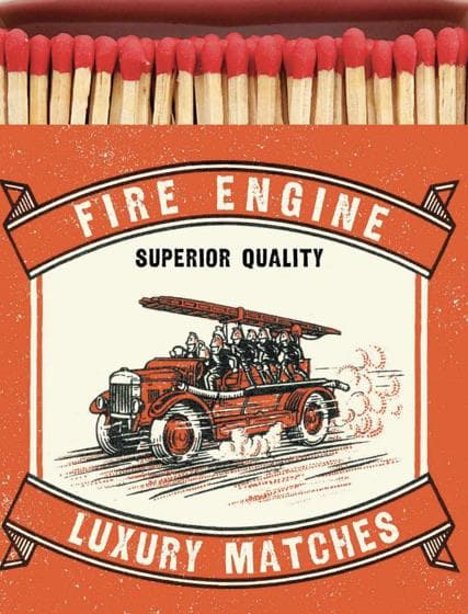 Fire Engine  Luxury Square Matches - Aurina Ltd