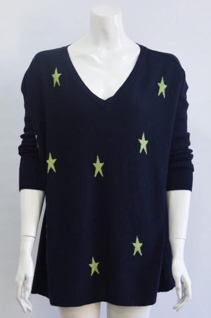Navy and Lime Green Multi Star Jumper