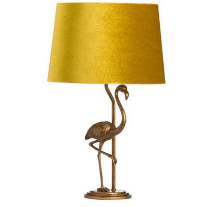 Antique Gold Effect Flamingo Lamp with Mustard Velvet Shade - Aurina Ltd