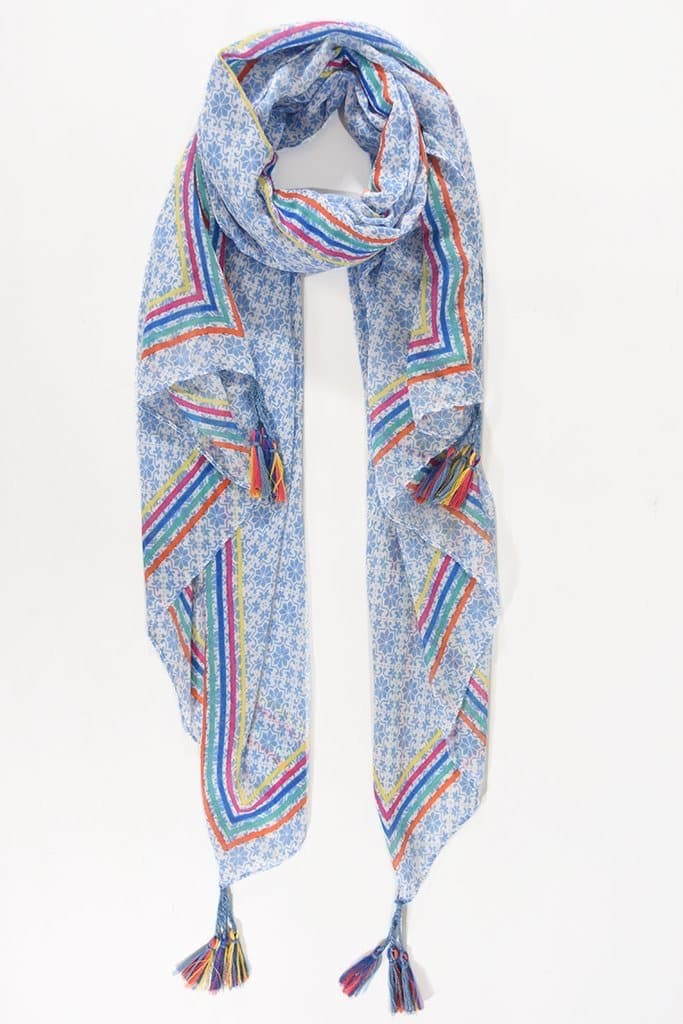 Light Blue Tasseled Paisley and Rainbow Scarf - Aurina Ltd