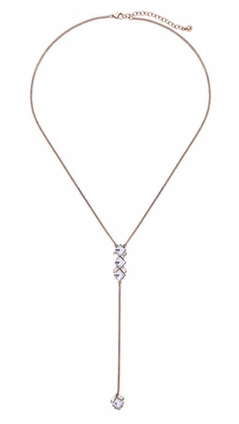 Clear Gem Drop Chain Necklace in Gold - Aurina Ltd