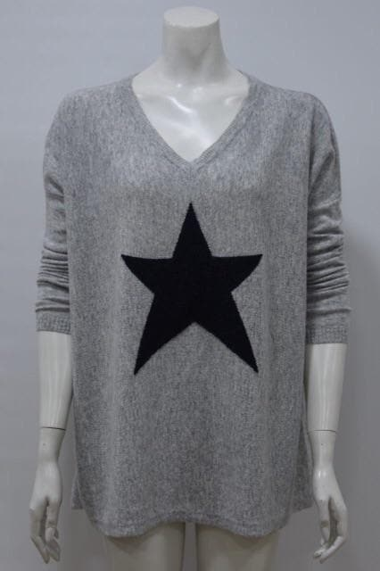 Pale Grey and Navy Single Star Jumper