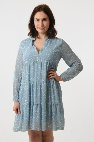 Light Blue Geo Dot Tiered Dress - Aurina Ltd