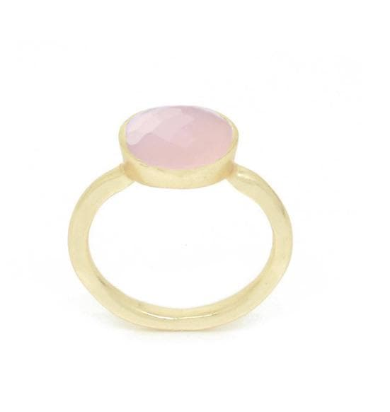 Faceted Gold and Rose Quartz Ring - Aurina Ltd