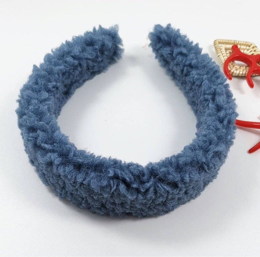 Navy Denim Teddy Headband - Aurina Ltd