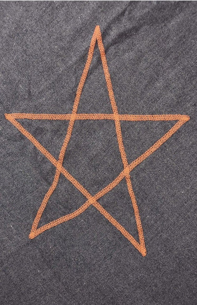 Embroidered Star Scarf Navy Blue & Orange -  - aurina-ltd-2