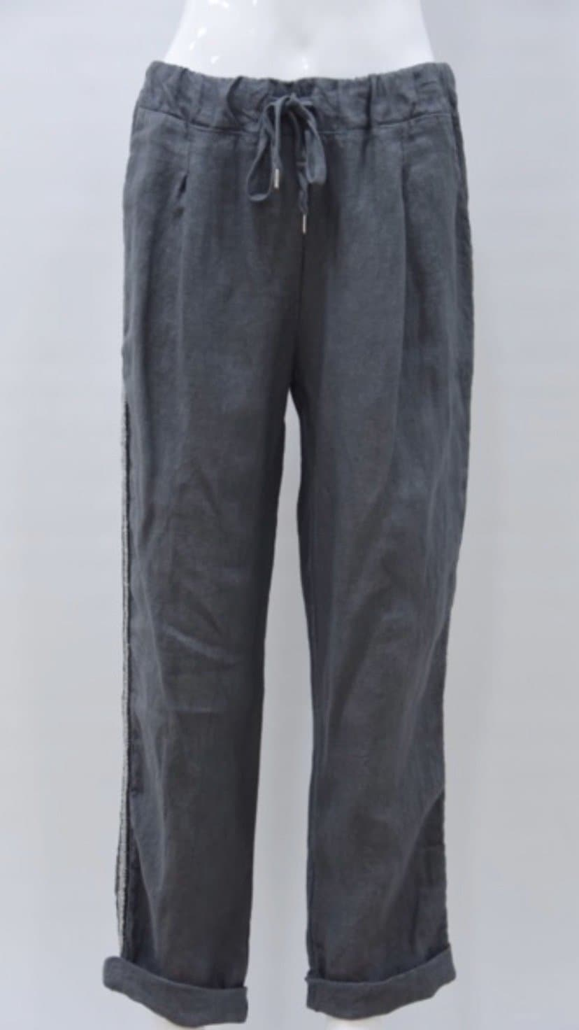 Linen cropped trouser with sparkle trim - Aurina Ltd