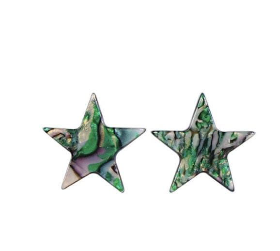 Green Resin Star Earring - Aurina Ltd