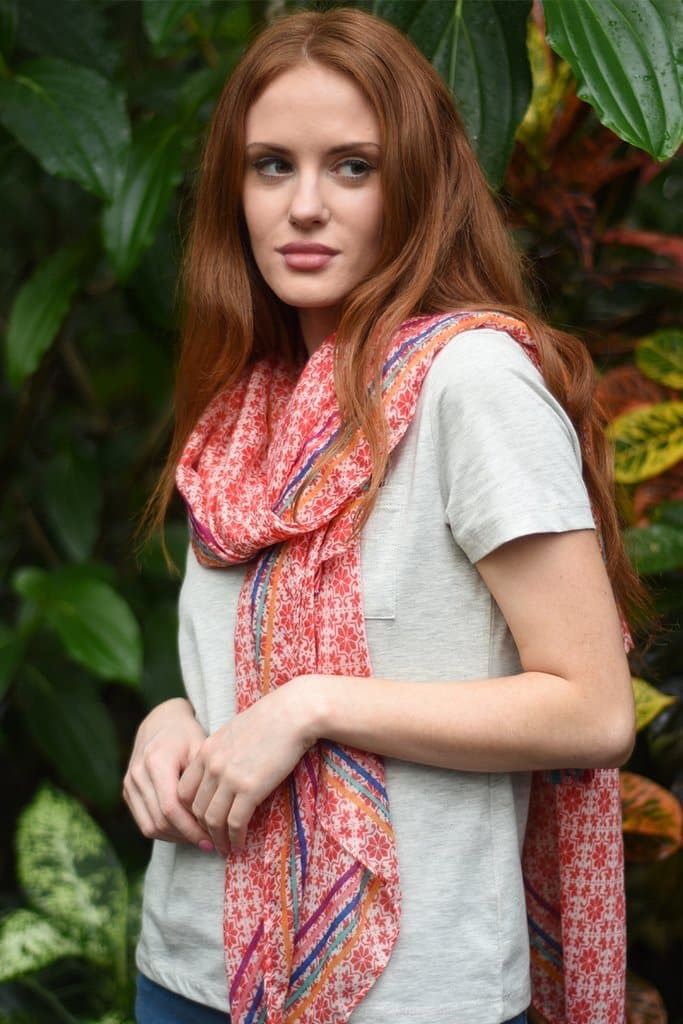 Red Tasseled Paisley and Rainbow Scarf - Aurina Ltd