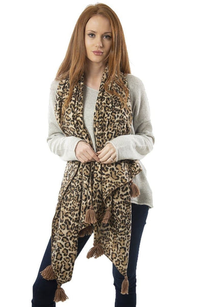 Animal Print Tassel Scarf - Aurina Ltd