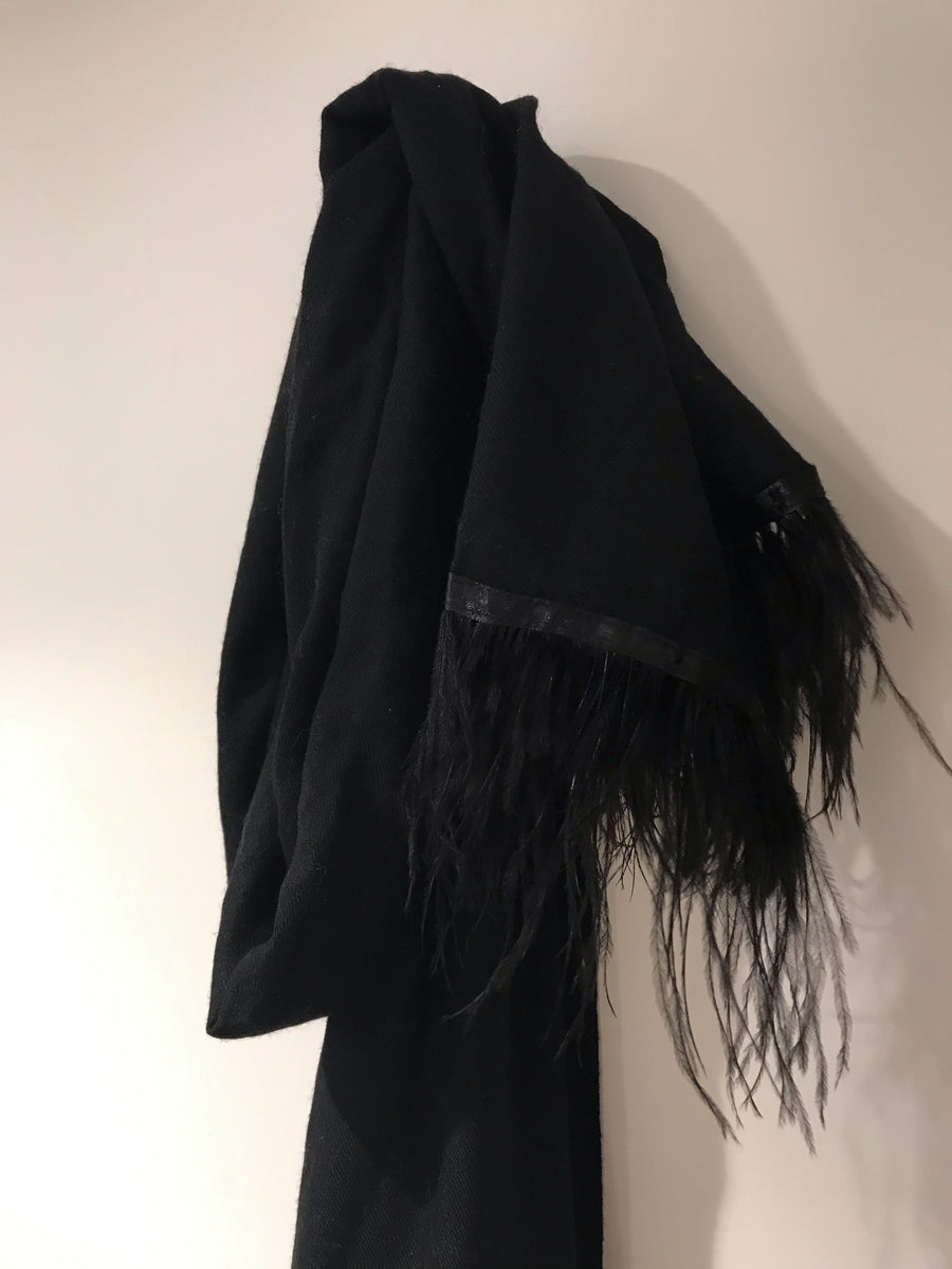 Black Cashmere & Feather Scarf - Aurina Ltd