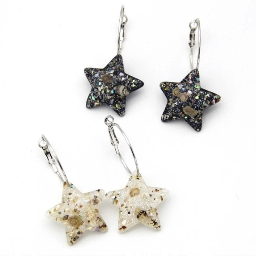 Resin and Shell Star Earring - Aurina Ltd