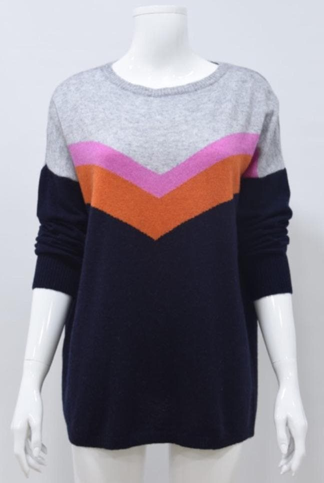 Chevron Stripe Cashmere Blend Jumper