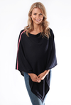 Blue Poncho with Neon Pink Stripe