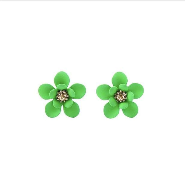 Neon Green Flower Stud - Aurina Ltd