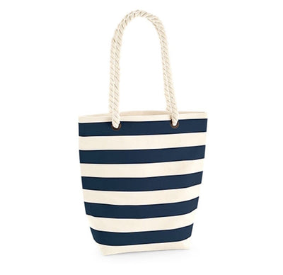Nautical Stripe Canvas Tote Bag with Personalisation - Aurina Ltd