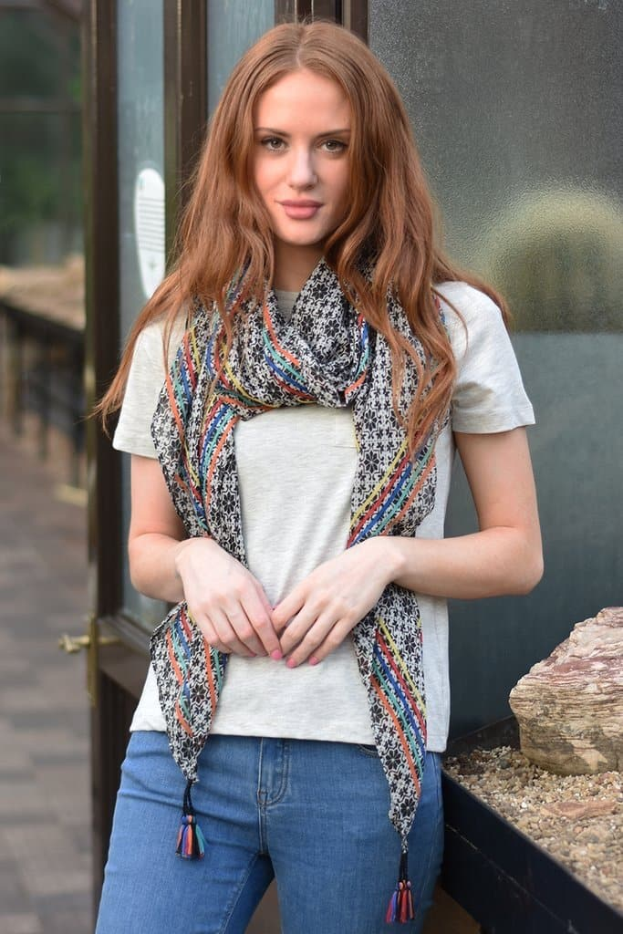 Black Tasseled Paisley and Rainbow Scarf - Aurina Ltd