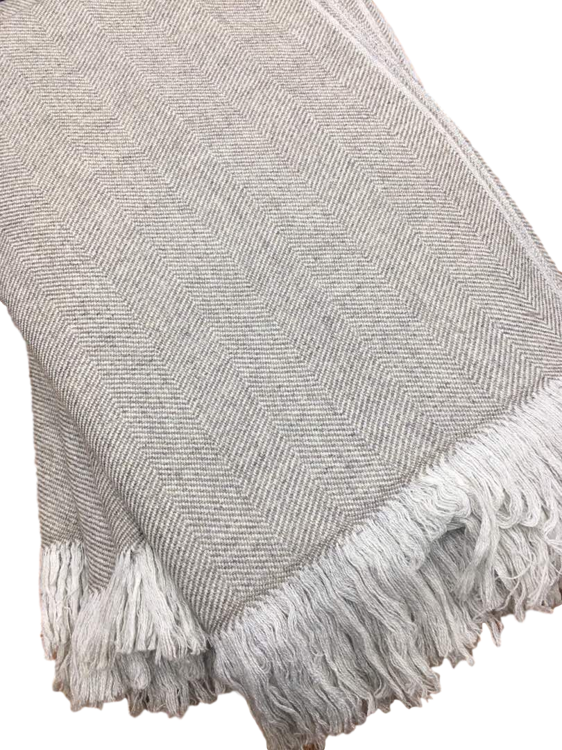 Herringbone Cashmere Throw - Aurina Ltd