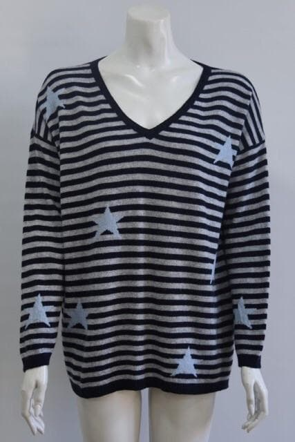 Stripes and Stars V Neck