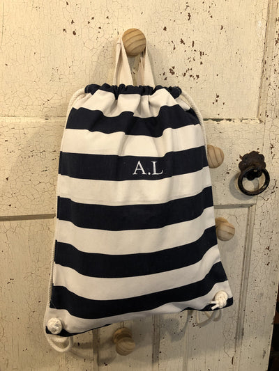 Nautical Stripe Drawstring Bag with or without Personalisation - Aurina Ltd
