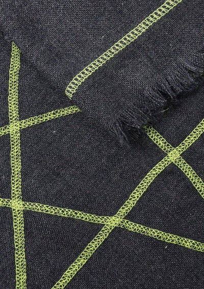 Embroidered Star Scarf Navy & Neon Yellow - Aurina Ltd