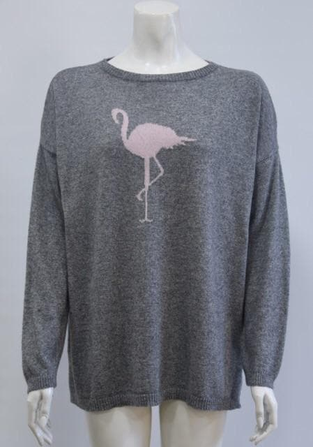 Pale Grey Flamingo Jumper