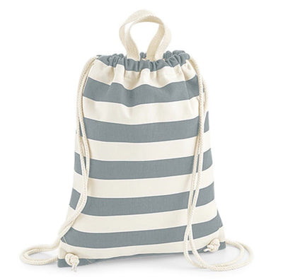 Nautical Stripe Drawstring Bag with personalisation - Aurina Ltd