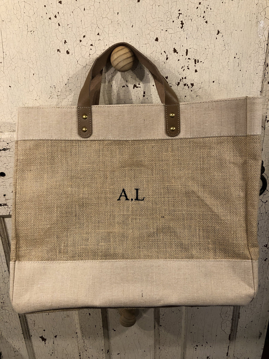 Leather Handle Jute Bag - Aurina Ltd