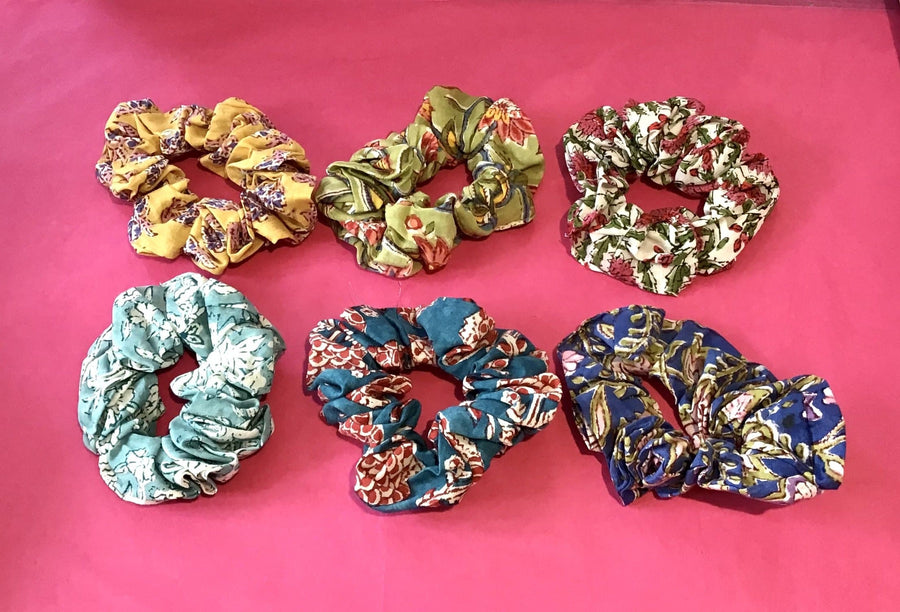 Block Print Floral Scrunchie - Aurina Ltd