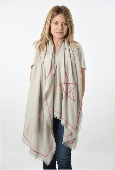 Embroidered Star Scarf Light Grey & Neon Pink -  - aurina-ltd-2