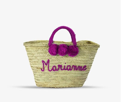 Personalised Pom Pom Straw Basket - Aurina Ltd