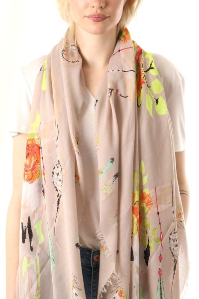 Light Grey feather, floral and animal scarf - Aurina Ltd