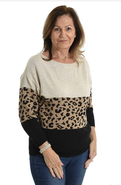 Block Cashmere Blend Jumper Black & Beige - Aurina Ltd