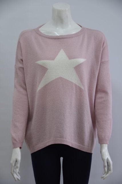 Crew Neck Star Jumper Pale Pink and Cream
