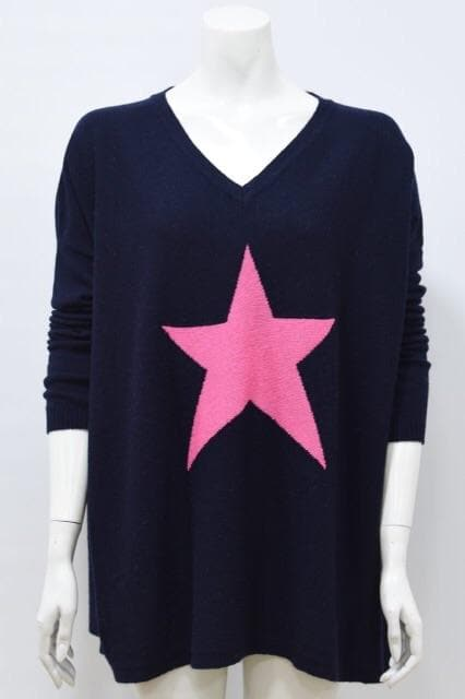 Navy and Fuschia single star jumper