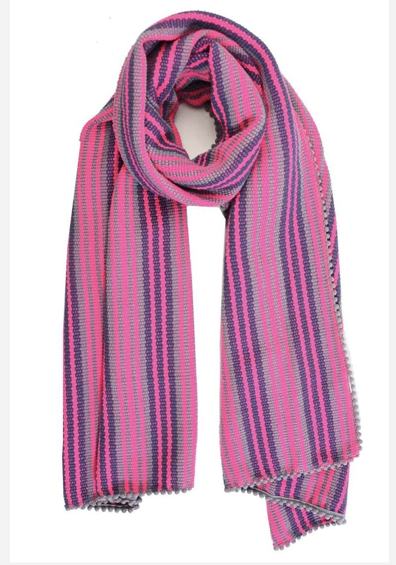 Grey & Fuschia Knitted cotton scarf - Aurina Ltd