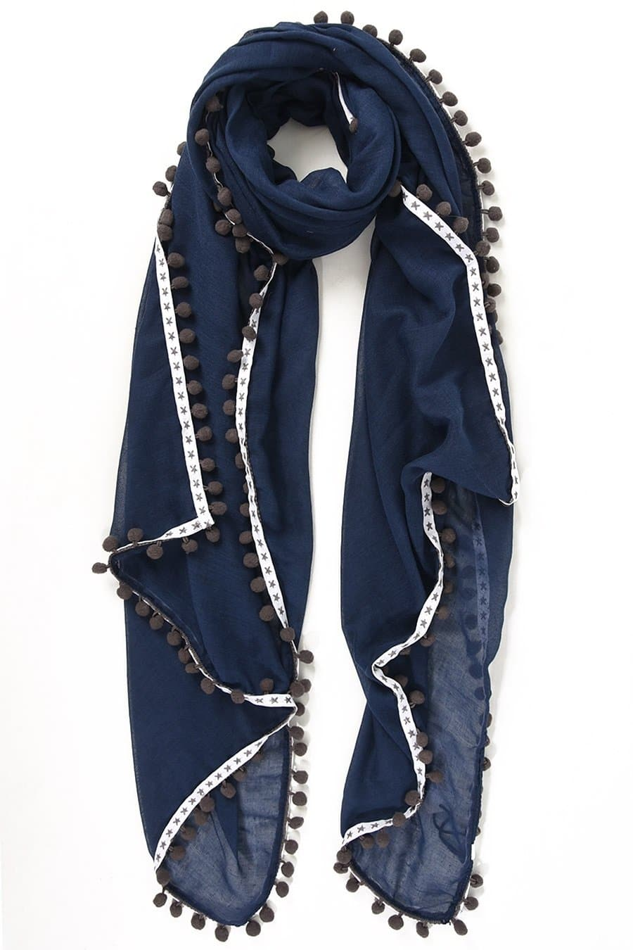 Pom Pom Star Trim Scarf - Aurina Ltd